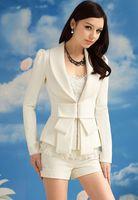 Wholesale Women Suits Peplum - Spring 2017 New Women White Big Bow Blazer Suit Jacket Lady Elegance Slim Lapel Blazers Coat Outerwear