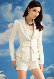 Wholesale Ladies White Satin Jackets - Spring 2017 New Women White Big Bow Blazer Suit Jacket Lady Elegance Slim Lapel Blazers Coat Outerwear