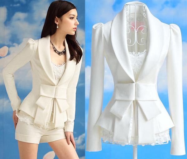 2017 Spring 2013 New Women White Big Bow Blazer Suit Jacket Lady ...
