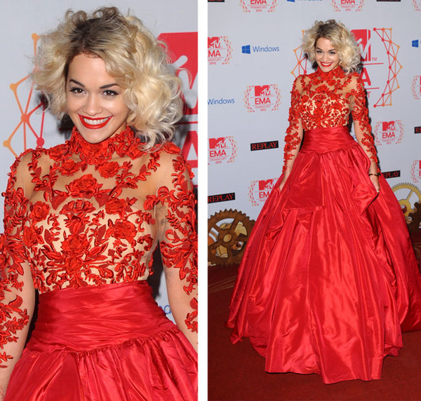 top popular Rita Ora Long Sleeves High Collar Taffeta Celebrity Dresses Red Ball Gown Evening Dresses Sheer Tulle Applique Red Carpet Gowns 2019