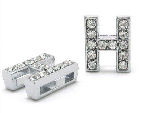 50 stks / partij 8mm H Volledige Rhinestones Bling Slide Letter DIY Alfabet Charms Fit voor 8mm Lederen Polsband Armband SL0013