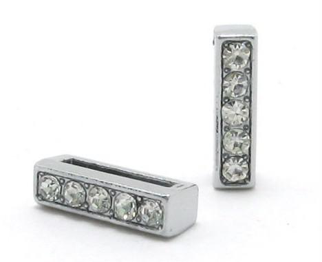 8mm I Full Rhinestones Bling Slide Letter DIY Alphabet Charms Fit For 8mm leather wristband bracelet SL0007