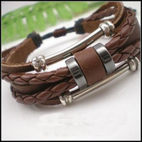 Wholesale Ethnic Braided Bracelet - braided men and women Leather Rope Bracelets Multilayer ethnic Charm Bracelet Brown and black 20pcs lot