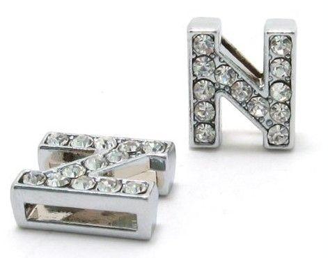 8mm N Full Rhinestones Bling Slide Letter DIY Alphabet Charms Fit For 8mm leather wristband keychains SL0012