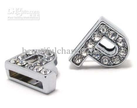 50 stks / partij 8mm P Volledige Rhinestones Bling Slip Brief DIY Alfabet Charms Fit voor 8mm Lederen Armband Sleutelhangers SL0009
