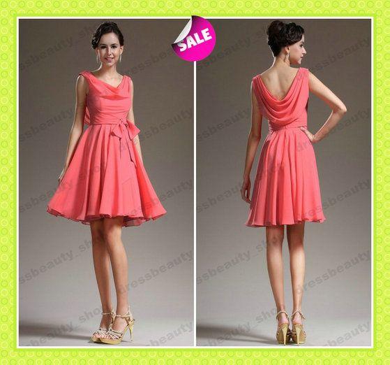 Short Coral Prom Dresses 2013
