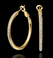 Wholesale Earrings Hoop 18kgp - Newest 18KGP Gold Plated Hoop Drop Rhinestone Earrings Fashion Jewelry E463 Free Shipping With Tracking Number