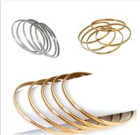 anillos de manos para niña al por mayor-Anillo de la mano de la pulsera 68m m del brazalete del acero inoxidable 5pcs / lot para la joyería de las mujeres / de las muchachas de la manera Alta calidad de la plata / oro de Rose / oro 18K