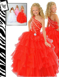 Wholesale Girls Gown Dresses Sz 12 - Lovely Orange Organza Flower Girl Dresses Girls' Formal Dresses Pageant Dress Custom SZ 2 4 6 8 10 12 FD8140233