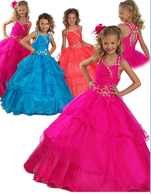 Reizendes rosafarbenes Organza-Blumenmädchen kleidet die formalen Kleider der Mädchen Festzug-Kleid-Gewohnheit SZ 2 4 6 8 10 12 FD8140245