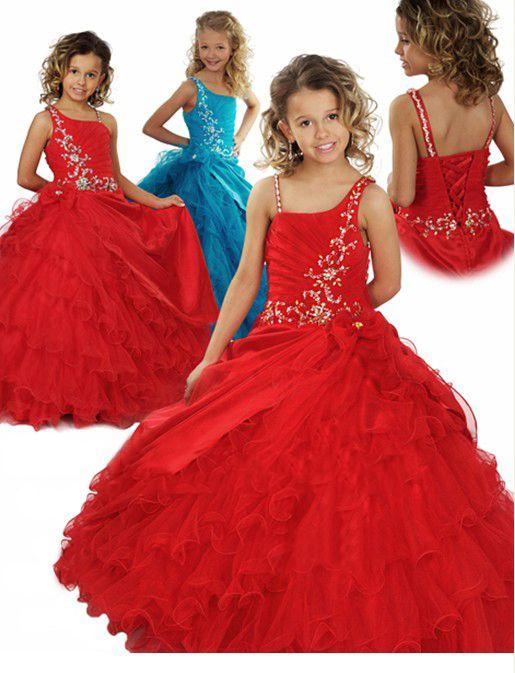 Preciosa Orgena Roja Flower Girl Vestidos Vestidos Formales de Chicas Vestido de Pago Custom SZ 2 4 6 8 10 12 FD8140246