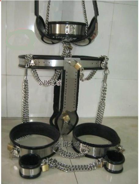 [5pcs in 1 set] Stainless Female Adjustable T-type steel chastity belt Thigh Cuff bra handcuffs collar