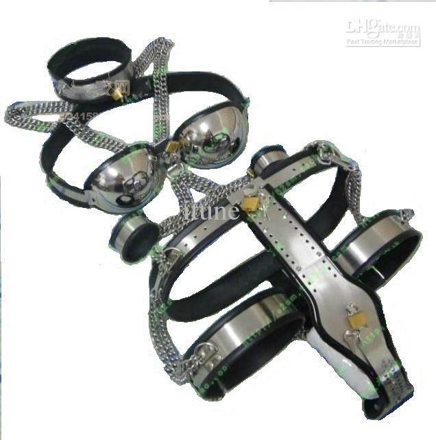 [5pcs in 1 set] Female Adjustable T-type steel chastity belt + Thigh Cuff + Stainless steel bra + handcuffs + collar SM SEX TOY