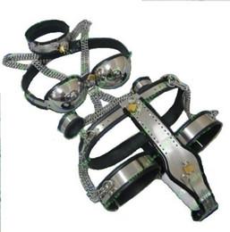 Wholesale Steel Band Bra - [5pcs in 1 set] Female Adjustable T-type steel chastity belt + Thigh Cuff + Stainless steel bra + wrist band cuffs+ collar SM SEX TOY