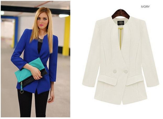 Новый стиль Женщины Девушки круглым вырезом пальто женские костюмы мода 7 очков рукавом Slim Пальто Благородный Повседневная Surcoats