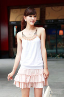 Wholesale Handmade Vests - Free shipping women's sleeveless cotton t shirt Ladies Handmade beaded craft vest decoration basic tanks female tops