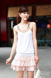 Wholesale White Chiffon Tank - Free shipping women's sleeveless cotton t shirt Ladies Handmade beaded craft vest decoration basic tanks female tops