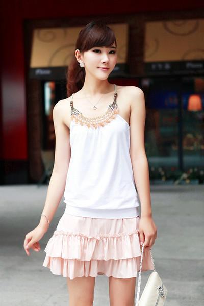 top popular Free shipping women's sleeveless cotton t shirt Ladies Handmade beaded craft vest decoration basic tanks female tops 2021