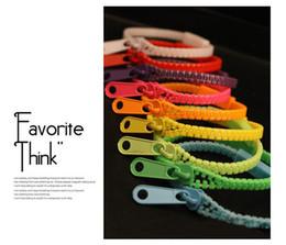 Wholesale Glow Bracelet Personalized - Xmas gifts Fluorescent color rainbow zipper bracelet personalized bracelets stylish women mix color Multicolor 36pcs