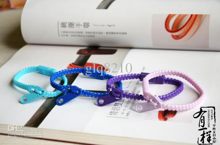 Regalos de Navidad color fluorescente arco iris cremallera brazalete pulseras personalizadas elegantes mujeres mezclan color Multicolor