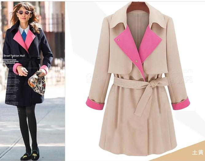 Autumn New Leisure Hit Color Lace Long Sleeve Women's Trench Coats Outwear