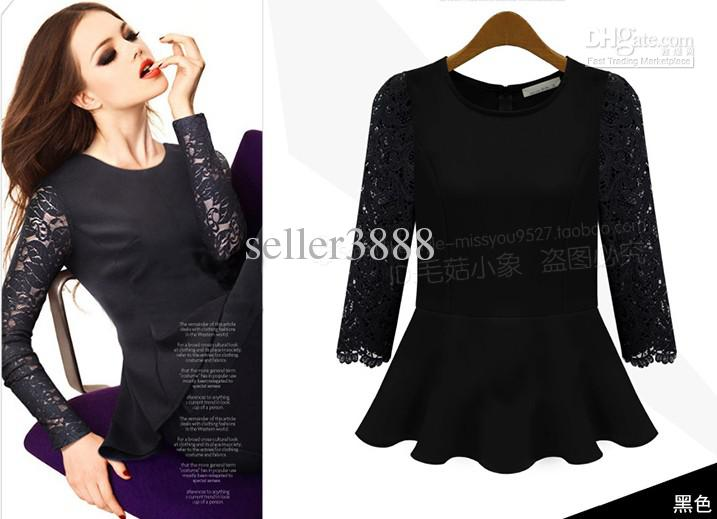 Spring Autumn New Lace Hollow Long Sleeve Splice Short Slim Thin Casual Dresses