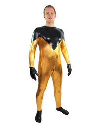 Oro zentai online-Gold Dust Wrestling Golddust Lycra Body Suit Fancy Dress Super Hero Bodysuit