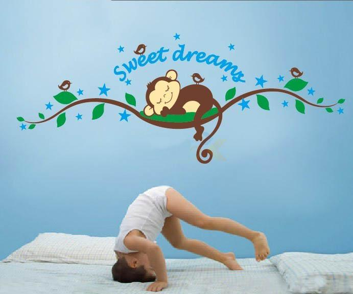 Bedroom Wall Decoration Cartoon Cute Monkey Sweet Dream Sticker ChildrenS Room Paper Kids Living Decal Decor Stickers