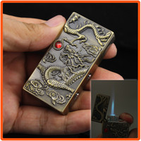 Wholesale Dragon Lighters - Free Shipping China's Ancient Culture Dragon Pattern Refill Butane Gas Cigarette Jet Flame Windproof Lighter Golden