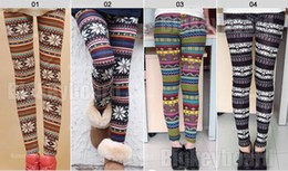 Wholesale Knit Leggings Pattern Free - 100pcs knitted rabbit fur blend multicolour snow elk skull patterned autumn and winter women leggings tights pants