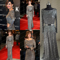 Wholesale Elie Saab Actual - Actual Image 2014 New Berenice Marlohe Red Carpet Elie Saab Sequined Sash Crystals Prom Dresses Evening Gowns With Long Sleeves BO1400
