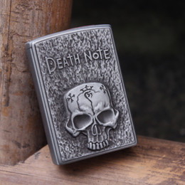 Wholesale Skull Butane Lighters - Free Shipping Novelty Death Note Vintage Skull Butane Pipe Gas cigarette Torch Flame Windproof Lighter ,safe and fast shipping