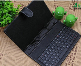 Wholesale Ipad Usb Case - 7inch USB Leather case with USB keyboard for Tablet pc notebook MID epad cover bag black or white 1pcs sample