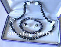 Wholesale Black Fresh Water Pearls - new arrive 7-8mm black Fresh water cultured pearl necklace bracelet earring set fashion jewelry,gift free shipping