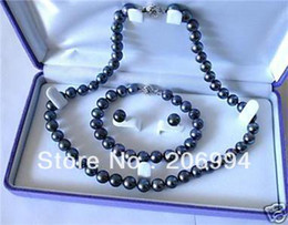 Wholesale Earrings Fashion Arrived - new arrive 7-8mm black Fresh water cultured pearl necklace bracelet earring set fashion jewelry,gift free shipping