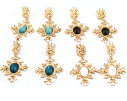 Wholesale Vintage Colorful Earrings - New 4 colorful vintage style gold plated metal crystal gem cross shape dangle stud earrings 12pairs lot