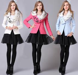 Wholesale Ladies Cashmere Blazer - Sexy Western Women One Button Slim Wool Jacket Suit Coat Ladies Formal Winter Woolen Blazer Outerwear With Fur Collar