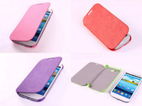 Wholesale Leather Book Cover Galaxy S3 - Book Style Genuine Lychee Flip Leather Case Cover for Samsung Galaxy S3 SIII I9300 With Retail Package Mobile Accessories Free Shipping