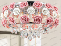 Wholesale Glass Crystal Chandelier Shades - LLFA1960 Modern flower shape glass crystal chandelier restaurant light roses shaped lamp shade Dia 480MM Free shipping
