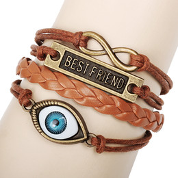 Wholesale Mutilayer Braid Leather Bracelet - fashion infinity ID bracelet leather mutiLayer braided leather handmade bracelets love best friend E-packet free shipping