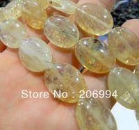 Wholesale Loose Tourmaline - Wholesale 13x18mm oval yellow tourmaline gem loose bead 15'' 2pc lot fashion jewelry