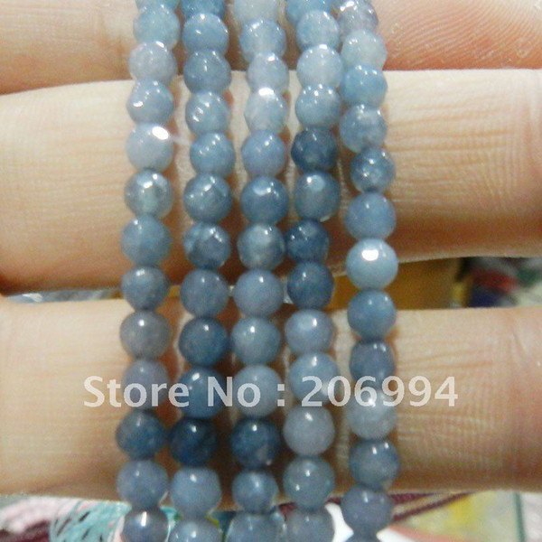 """Wholesale 4mm Aquamarine Faceted jade Gems Round Loose Beads 15"""" 2pc/lot fashion jewelry"""
