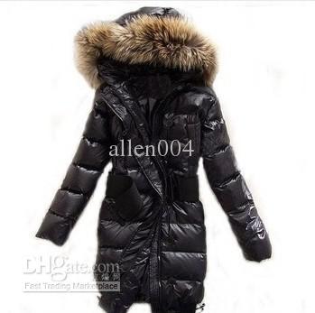 2017 ! Women'S Raccoon Fur Down Coat Lady Long Jacket Hood & Belt ...