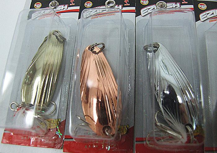 Spoon Lure Metal Bait Fishing Lure VMC Hook Fishing Tackle tied feathers shell shape sequins four size 5g 9g 12g 14g mixed 12model/card
