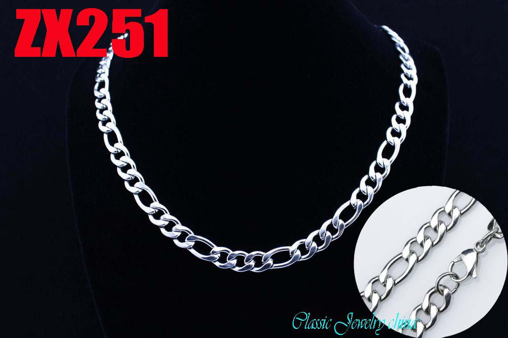 8 mm de acero inoxidable 316L collares de moda cadena figaro Cuba cadenas regalo de vacaciones de Navidad ZX251