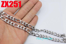 Wholesale Cuba Wholesalers - 8mm 316L stainless steel necklaces fashion figaro chain Cuba chains 20pcs Christmas holiday gift ZX251