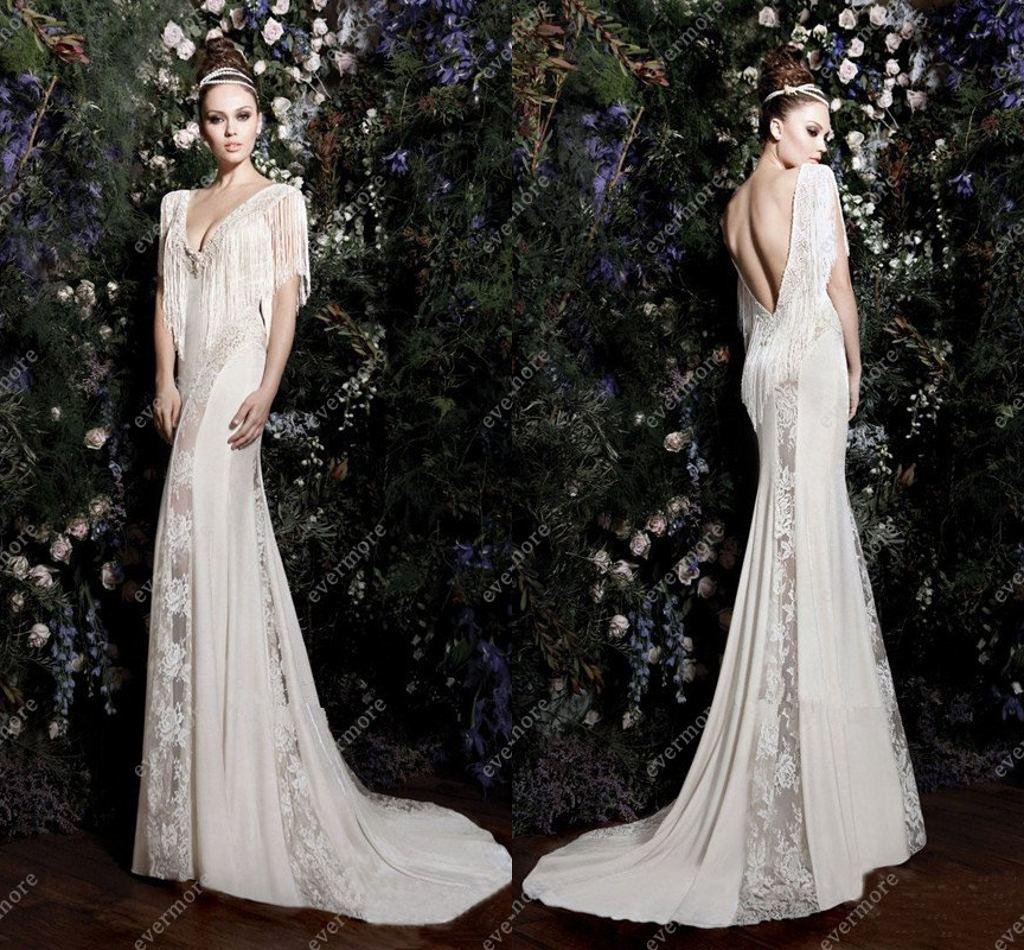 2013 Wedding Dress Allure Gown V Neck Chiffon And Lace Backless ...