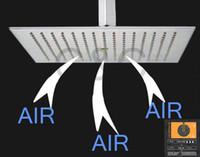 placa de chuveiro de aço inoxidável quadrada venda por atacado-Exclusiva tecnologia Air Drop !!! Aço Inoxidável (304) 16 Polegada Quadrada Escovado Níquel Overhead Rainfall Shower Head BD018
