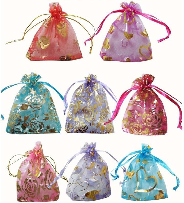 Wholesale hot sale Fashion Dot Heart Rose jewelry silk organza pouch packing bags Christmas gift bag 7x9cm multi-color Lots5000