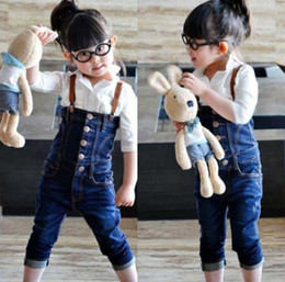 Wholesale Girl Jumpsuit Denim Baby - Girls jeans overalls kids' jeans jumpsuits fashion denim baby girls overall retail free shipping